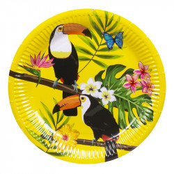 6 ASSIETTES TOUCAN TROPICAL