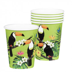 6 GOBELETS TOUCAN TROPICAL