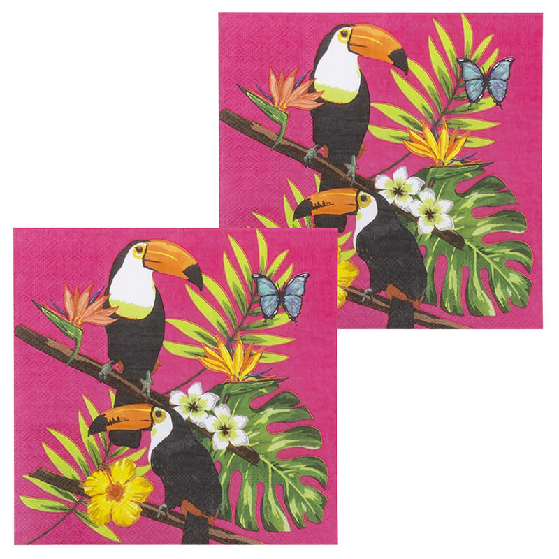 12 SERVIETTES TOUCAN TROPICAL