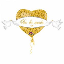 BALLON ALU GEANT CŒUR VIVE LES MARIES DORE (1,04M)
