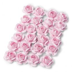 24 MINI ROSES ROSE SUR TIGE (2,1CM)