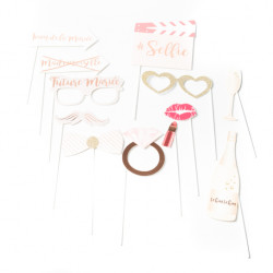 KIT PHOTOBOOTH MARIAGE ROSE GOLD (12 PCES)