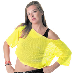 T-SHIRT ANNÉES 80 JAUNE FLUO (TAILLE ADULTE)