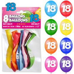 8 BALLONS 18 ANS MULTICOLORES (30CM)