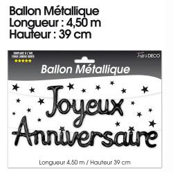 GUIRLANDE BALLONS JOYEUX ANNIVERSAIRE NOIR (4,50M)