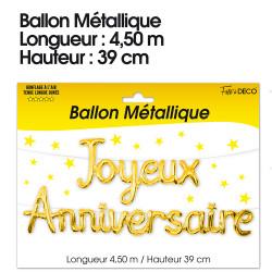 GUIRLANDE BALLONS JOYEUX ANNIVERSAIRE OR (4,50M)