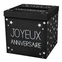 URNE JOYEUX ANNIVERSAIRE NOIRE (20CM)