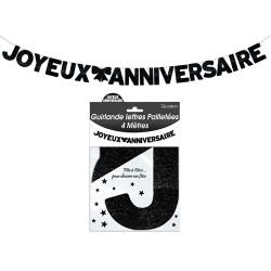 GUIRLANDE LETTRES JOYEUX ANNIVERSAIRE NOIRE (4M)