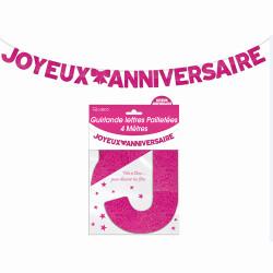 GUIRLANDE LETTRES JOYEUX ANNIVERSAIRE ROSE (4M)