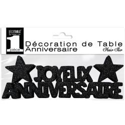 DECO DE TABLE ANNIVERSAIRE NOIR PAILLETTÉ (17CM)