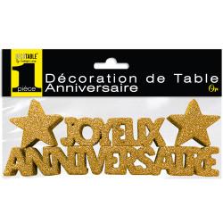 DECO DE TABLE ANNIVERSAIRE OR PAILLETTÉ (17CM)