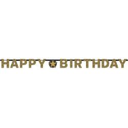 GUIRLANDE HAPPY BIRTHDAY OR ETINCELANT (17CM X2,13M)
