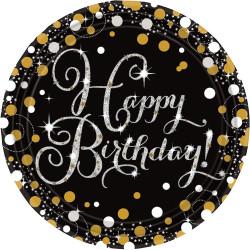 ASSIETTES HAPPY BIRTHDAY NOIRES X8 (23CM)