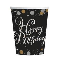 GOBELETS HAPPY BIRTHDAY NOIR ARGENT X8 (266ML)
