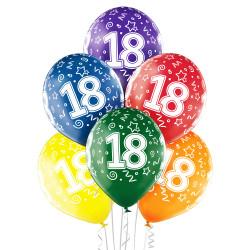 6 BALLONS 18 ANS LATEX MULTICOLORE (30CM) BELBAL
