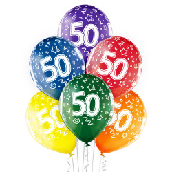 6 BALLONS 50 ANS LATEX MULTICOLORE (30CM) BELBAL