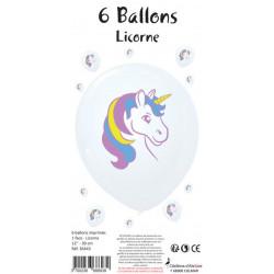 6 BALLONS BLANCS IMPRIMÉS LICORNE (30CM)