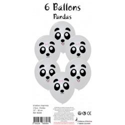 6 BALLONS BLANCS IMPRIMÉS PANDA (30CM)