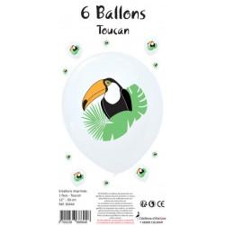 6 BALLONS BLANCS IMPRIMÉS TOUCAN (30CM)