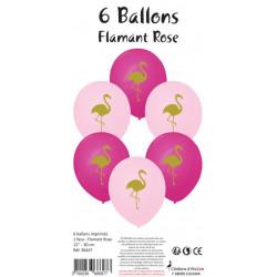 6 BALLONS ROSE IMPRIMÉS FLAMANT ROSE (30CM)