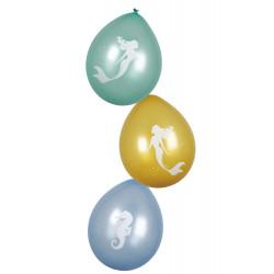 6 BALLONS SIRENE (25CM)