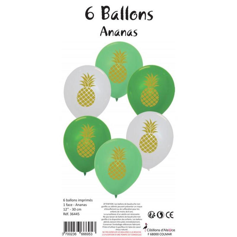 6 BALLONS VERTS / BLANCS IMPRIMÉS ANANAS (30CM)