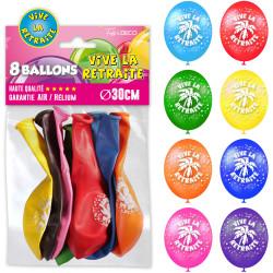 8 BALLONS VIVE LA RETRAITE MULTICOLORES (30CM)