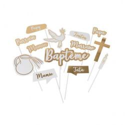 KIT PHOTOBOOTH BAPTEME EMBOSSE OR (13PCS)