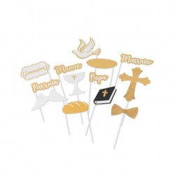 KIT PHOTOBOOTH COMMUNION EMBOSSE OR (13PCS)