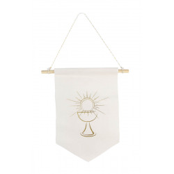 FANION VELOURS COMMUNION BLANC/OR (25X27CM)