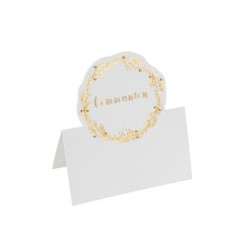 10 MARQUE-PLACES COMMUNION EMBOSSE OR (9CM)