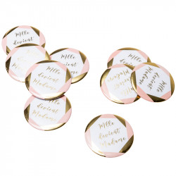BADGES 'MLLE DEVIENT MADAME' ROSE OR X8 (5CM)