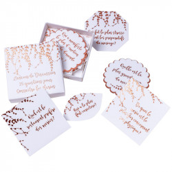35 CARTES 'LANCEUR DISCUSSION' VÉGÉTAL ROSE GOLD (7CM)