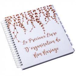 LIVRE 'ORGANISAT° MARIAGE' VÉGÉTAL ROSE GOLD (19X20CM) 86PAGES