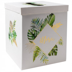 URNE 'MERCI' TROPICAL ET OR (21X21X25CM)