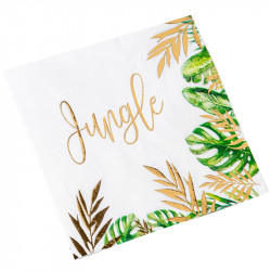 SERVIETTES JUNGLE TROPICALE VERT ET OR X16 (33CM)