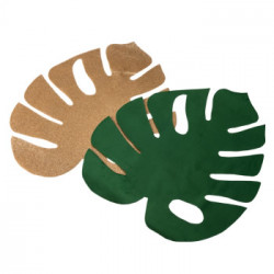 SETS DE TABLE FEUILLES TROPIC. 1 VELOURS VERT +1PAILLETTES OR 30X35CM