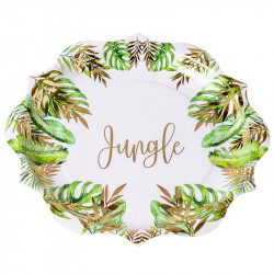 ASSIETTES JUNGLE TROPICALE VERT ET OR X8 (23CM)
