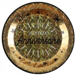 ASSIETTES J.ANNIVERSAIRE OR MÉTAL ÉTINCELANT X10 (22,5CM)