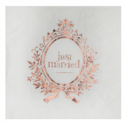 SERVIETTES JUST MARRIED ROSE GOLD X20 (12,5CM)