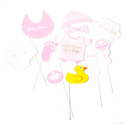 KIT PHOTOBOOTH BABY SHOWER FILLE (11 PIÈCES)