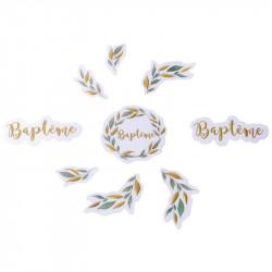 CONFETTIS BAPTÊME ET FEUILLES BLANC/OR X80 (2,5/5,5CM )