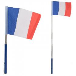 PETIT DRAPEAU FRANCE (10X14CM) TÉLESCOPIQUE (REPLIÉ 24CM / DÉPLIÉ 51 CM)